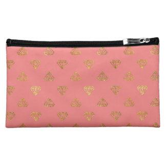 Golden Diamonds Satin Cosmetic Bag