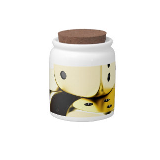 Golden dices candy jar