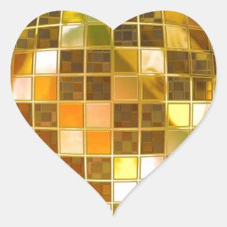 Golden Disco Ball Heart Sticker