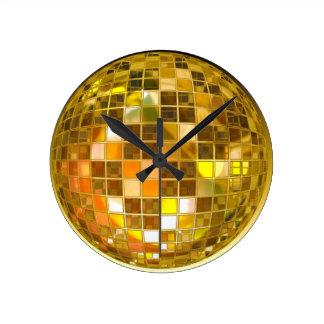 Golden Disco Ball Round Clocks