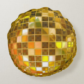 Golden Disco Ball Round Pillow
