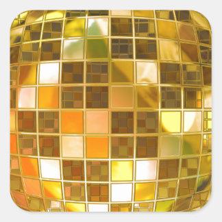 Golden Disco Ball Square Sticker