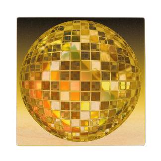 Golden Disco Ball Wood Coaster