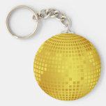 Golden discoball basic round button keychain