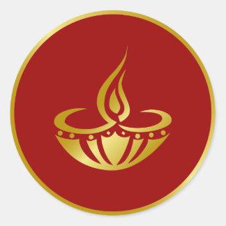 Golden Diwali Lamp Design Classic Round Sticker