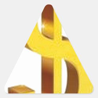 Golden dollar sign design triangle sticker