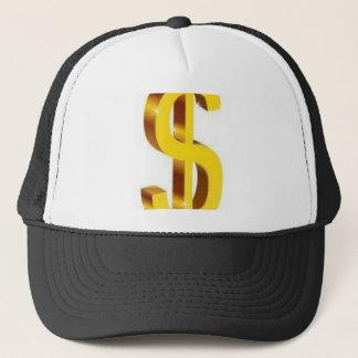 Golden dollar sign design trucker hat