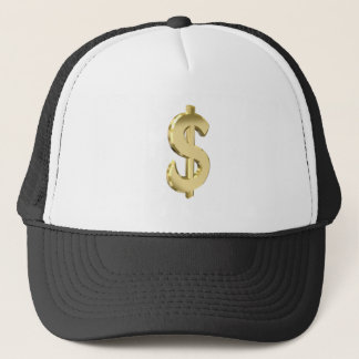 Golden dollar sign trucker hat