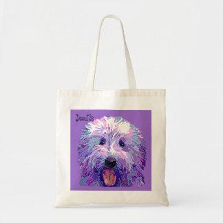 Golden Doodle Dazzling Purple Colors Canvas Bags