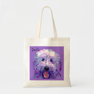 Golden Doodle Dazzling Purple Colors Tote Bag