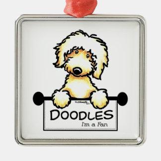 Golden Doodle Fan Metal Ornament