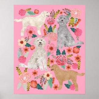 Golden Doodle Floral Dog Art Poster