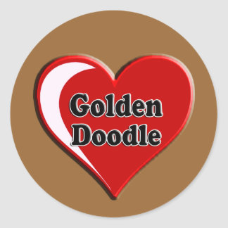 Golden Doodle on Heart for dog lovers Classic Round Sticker