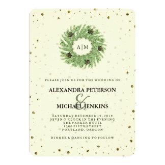 Golden Dots and Christmas Wreath Wedding Card