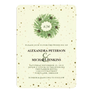 Golden Dots and Christmas Wreath Wedding Invitation