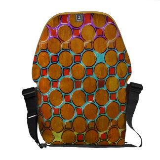 Golden Dots, Colorful Frame in a Vintage Pattern Messenger Bag
