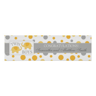 Golden Dots & Elephants Twins Baby Shower Banner Poster