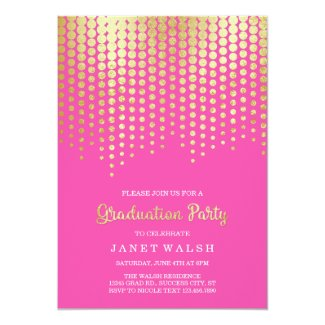 Golden Dots Graduation Invitation