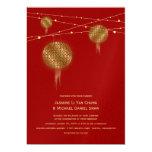 Golden Double Happiness Lanterns Chinese Wedding Custom Invitation