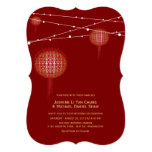 Golden Double Happiness Lanterns Chinese Wedding 5x7 Paper Invitation Card