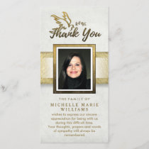 Golden Dove Custom Photo Memorial Thank You Card