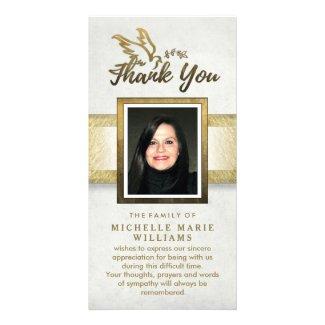 Golden Dove Custom Photo Memorial Thank You Card