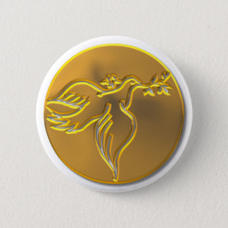 Golden Dove of Peace - Holy Spirit Pinback Button