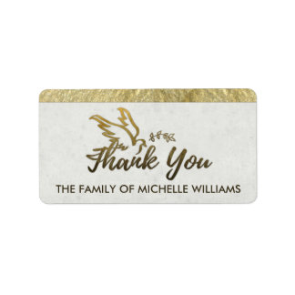 Golden Dove Thank You Sympathy Family Labels
