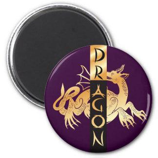 Golden Dragon and Banner Refrigerator Magnets