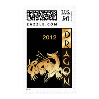 Golden Dragon and Banner Postage