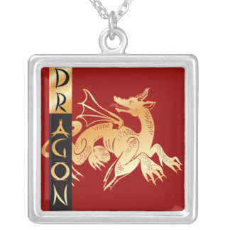 Golden Dragon and Banner Square Pendant Necklace