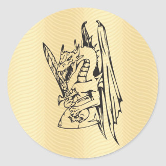 Golden Dragon and Sword Classic Round Sticker