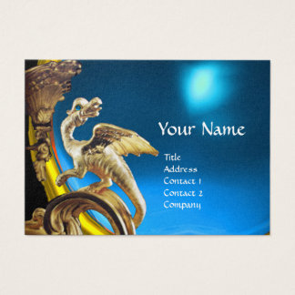 GOLDEN DRAGON BLUE SAPPHIRE Monogram Gold Metallic Business Card