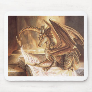 Golden Dragon Book Reading Mouse Pad