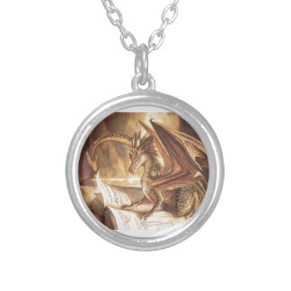 Golden Dragon Book Reading Silver Plated Necklace
