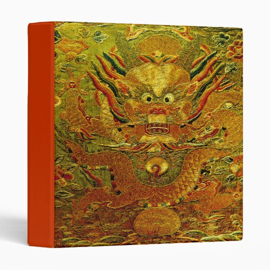 Golden dragon Chinese embroidery Ming dynasty 3 Ring Binder