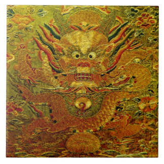 Golden dragon Chinese embroidery Ming dynasty Ceramic Tile