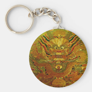 Golden dragon Chinese embroidery Ming dynasty Keychain