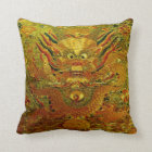 Golden dragon Chinese embroidery Ming dynasty Throw Pillow