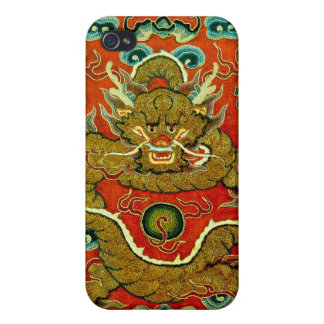 Golden dragon Chinese embroidery Qing dynasty Cover For iPhone 4