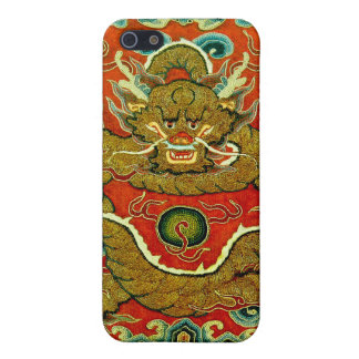 Golden dragon Chinese embroidery Qing dynasty Cover For iPhone SE/5/5s
