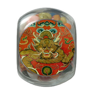 Golden dragon Chinese embroidery Qing dynasty Jelly Belly Candy Jar