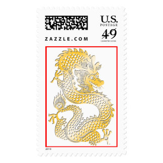 Golden Dragon Chinese Zodiac Symbol Stamps