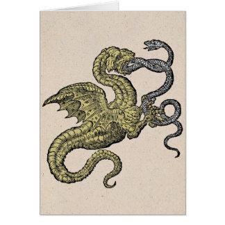 Golden Dragon Fighting Silver Snake Card