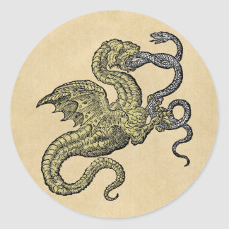 Golden Dragon Fighting Silver Snake Classic Round Sticker