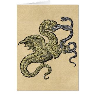 Golden Dragon Fighting Snake Card