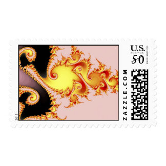Golden Dragon Fine Fractal Abstract Art Postage
