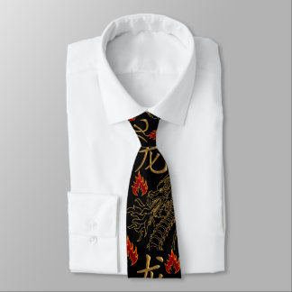 Golden Dragon Fire - Black Gold Red - Single Side Tie