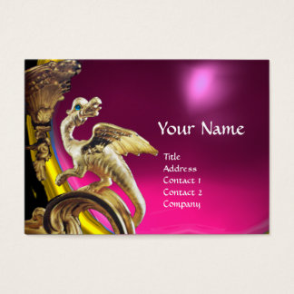 GOLDEN DRAGON FUCHSIA PURPLE AMETHYST Monogram Business Card