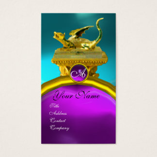 GOLDEN DRAGON GEM MONOGRAM, blue purple amethyst Business Card